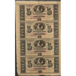 Uncut Sheet of 1800's $5 Citizens Bank of Louisiana Obsolete Notes