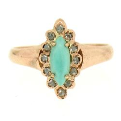 10K Rose Gold Marquise Turquoise .30 ctw Diamond Solitaire Ring