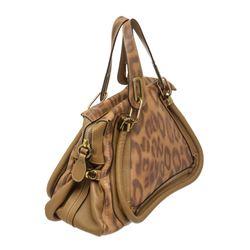 Chloe Brown Leopard Print Leather Paraty Medium Satchel Handbag