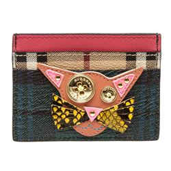 Burberry Green Tan Pink Kitty Appliqué Cardholder