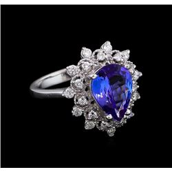 2.58 ctw Tanzanite and Diamond Ring - 14KT White Gold