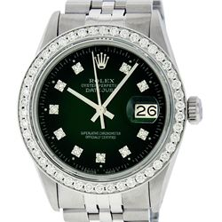 Rolex Mens Stainless Steel Slate Green Diamond 36MM Datejust Wristwatch
