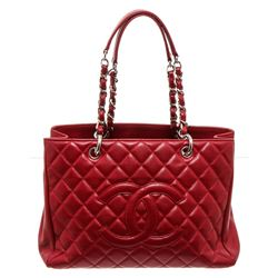 Chanel Red Caviar GST Grand Shopping Tote Bag