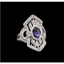 1.84 ctw Tanzanite and Diamond Ring - 14KT White Gold