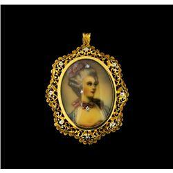 18KT Yellow Gold Diamond Brooch/Pendant