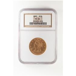 1892 $10 Liberty Head Eagle Gold Coin