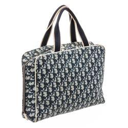 Christian Dior Blue White Diorissimo Canvas Leather Tote Bag