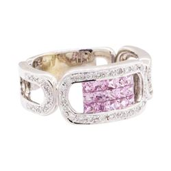 1.03 ctw Pink Sapphire And Diamond Ring - 14KT White Gold