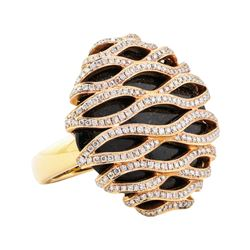 1.65 ctw Diamond and Onyx Ring - 18KT Rose Gold