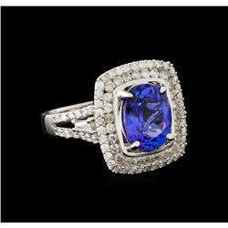 3.96 ctw Tanzanite and Diamond Ring - 14KT White Gold