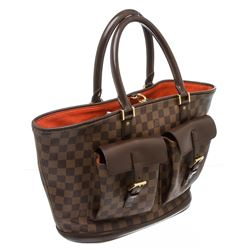 Louis Vuitton Damier Ebene Canvas Leather Manosque GM Bag