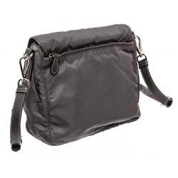 Prada Gray Saffiano-Trimmed Nylon Messenger Bag