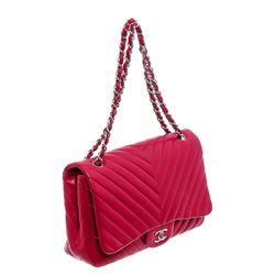 Chanel Red Chevron Quilted Leather Maxi Flap Bag