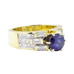 3.08 ctw Sapphire And Diamond Ring - 18KT Yellow Gold
