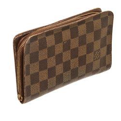 Louis Vuitton Damier Ebene Canvas Leather Zippy Wallet