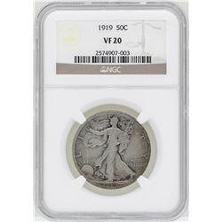 1919 Walking Liberty Half Dollar Coin NGC VF20