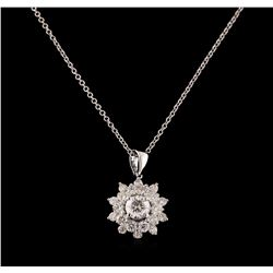 1.27 ctw Diamond Pendant With Chain - 14KT White Gold