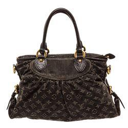 Louis Vuitton Black Denim Monogram Neo Cabby MM Bag