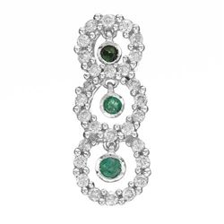 14k White Gold  0.38CTW Emerald and Diamond Pendant