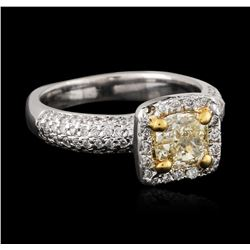 18KT Two-Tone Gold 1.49 ctw Fancy Light Yellow Diamond Ring