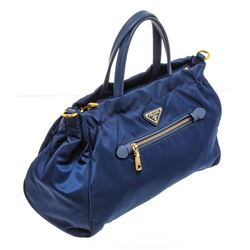 Prada Blue Nylon Leather Shoulder Handle Tote Bag