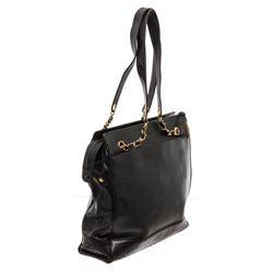 Chanel Black Caviar Leather Vintage CC Tote Bag