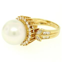 18K Yellow Gold  13.3mm South Sea Pearl Ring w/ Marquise & Round Diamonds