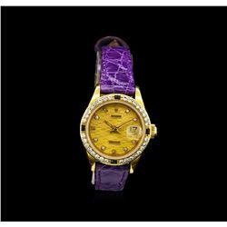 Rolex 18KT Gold Diamond and Sapphire DateJust Ladies Watch