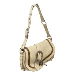 Christian Dior Creme Leather Large Gaucho Double Saddle Bag
