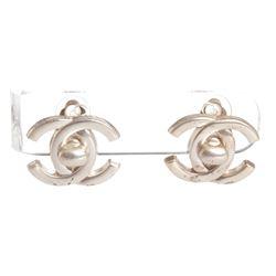 Chanel Silver CC Turn Lock Vintage Clip On Earrings 96P