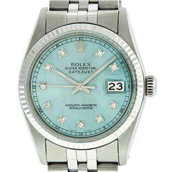 Rolex Mens Stainless Steel Ice Blue Diamond Datejust Wristwatch
