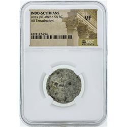 58 BC Indo Scythians Azes I/II AR Tetradrachm Coin NGC VF