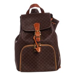 Celine Brown Macadam Canvas Leather Trim Medium Backpack