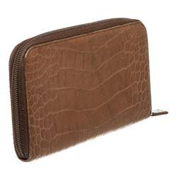Prada Brown Croc Embossed Zip-Around Wallet