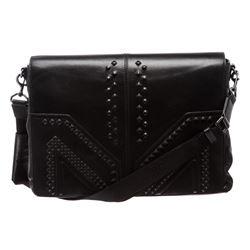 MCM M. Moment Black Leather Messenger Bag