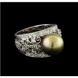 Tahitian Pearl and Diamond Ring - 14KT White Gold