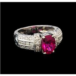 14KT White Gold GIA Certified 2.35 ctw Tourmaline and Diamond Ring