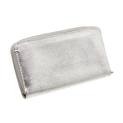 Louis Vuitton Metallic Silver Leather Suhali Zippy Wallet