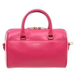 Saint Laurent YSL Magenta Calfskin Leather Classic Baby Duffle Bag