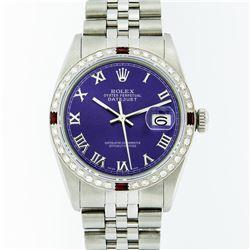 Rolex Mens Stainless Steel Purple Roman Diamond & Ruby Datejust Wristwatch