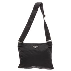 Prada Black Leather-Trimmed Tessuto Nylon Messenger Bag
