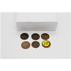 Set of 6 Canadian pennies