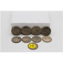 Set of 9 American 50 cent coins