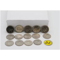 Set of 14 1973 25 cent coins