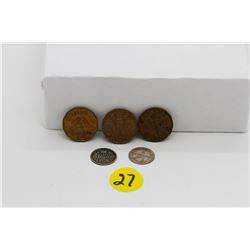 Set of 5 nickels - 3 bronze nickels( 1942&1943) and 2 silver (1906&1912)