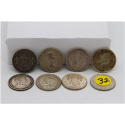 Set of 8 - Silver 50 cent coins