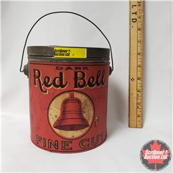 """Dark Red Bell Fine Cut Tobacco Pail - Paper Label (6"""" x 5"""")"""