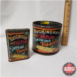 "Collector Combo (2) : Buckingham Bright Cut Plug Smoking Tobacco Tin (no lid) (5""x5"") & Buckingham B"