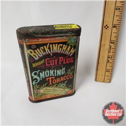 "Buckingham Bright Cut Plug Smoking Tobacco Pocket Tin (4"" x 3"") Match striker bottom"