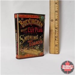 "Buckingham Bright Cut Plug Smoking Tobacco Pocket Tin (4"" x 3"") Green Lid"